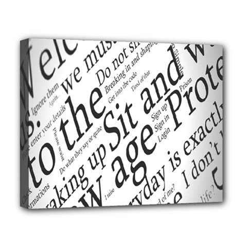 Abstract Minimalistic Text Typography Grayscale Focused Into Newspaper Deluxe Canvas 20  X 16   by Simbadda