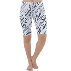 Abstract Minimalistic Text Typography Grayscale Focused Into Newspaper Cropped Leggings