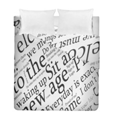 Abstract Minimalistic Text Typography Grayscale Focused Into Newspaper Duvet Cover Double Side (full/ Double Size) by Simbadda