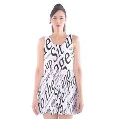 Abstract Minimalistic Text Typography Grayscale Focused Into Newspaper Scoop Neck Skater Dress by Simbadda
