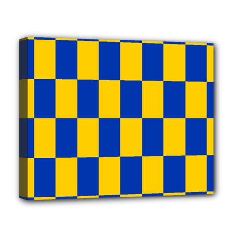 Flag Plaid Blue Yellow Deluxe Canvas 20  X 16   by Alisyart