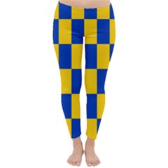 Flag Plaid Blue Yellow Classic Winter Leggings