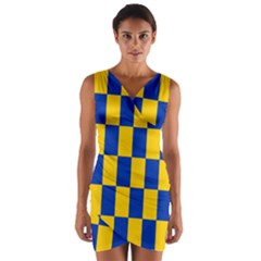 Flag Plaid Blue Yellow Wrap Front Bodycon Dress