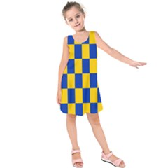 Flag Plaid Blue Yellow Kids  Sleeveless Dress by Alisyart