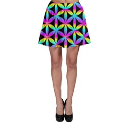 Flower Of Life Gradient Fill Black Circle Plain Skater Skirt by Simbadda