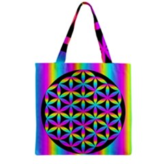 Flower Of Life Gradient Fill Black Circle Plain Grocery Tote Bag