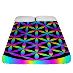 Flower Of Life Gradient Fill Black Circle Plain Fitted Sheet (california King Size) by Simbadda
