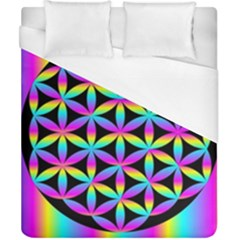 Flower Of Life Gradient Fill Black Circle Plain Duvet Cover (california King Size) by Simbadda