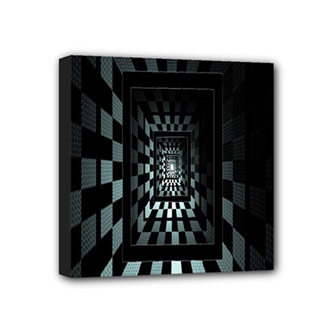 Optical Illusion Square Abstract Geometry Mini Canvas 4  X 4  by Simbadda