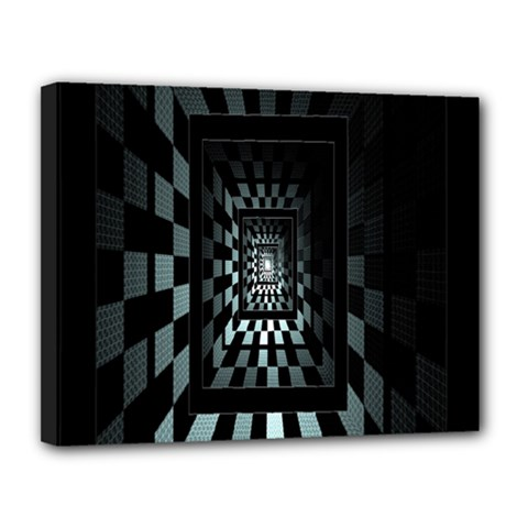 Optical Illusion Square Abstract Geometry Canvas 14  X 11