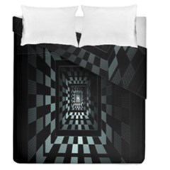 Optical Illusion Square Abstract Geometry Duvet Cover Double Side (queen Size) by Simbadda