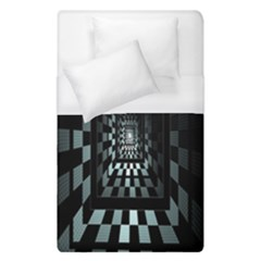Optical Illusion Square Abstract Geometry Duvet Cover (single Size) by Simbadda