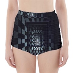 Optical Illusion Square Abstract Geometry High Waisted Bikini Bottoms