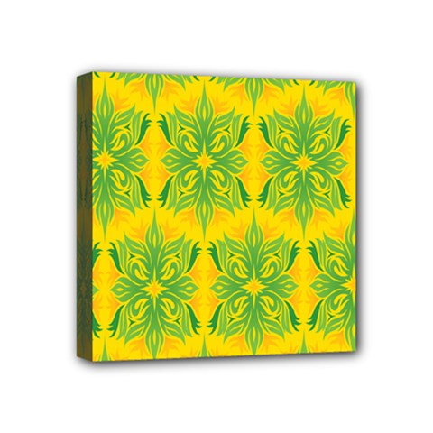 Floral Flower Star Sunflower Green Yellow Mini Canvas 4  X 4