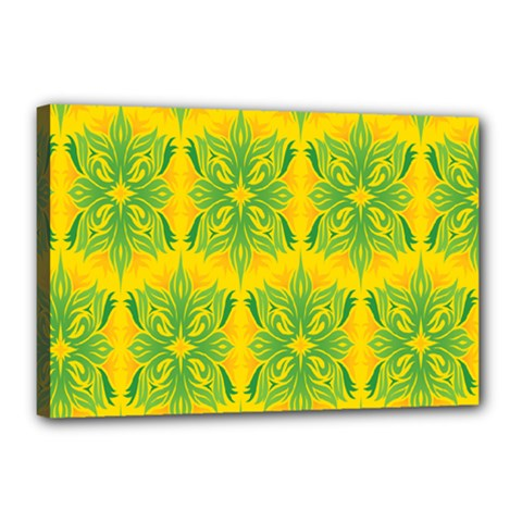 Floral Flower Star Sunflower Green Yellow Canvas 18  X 12