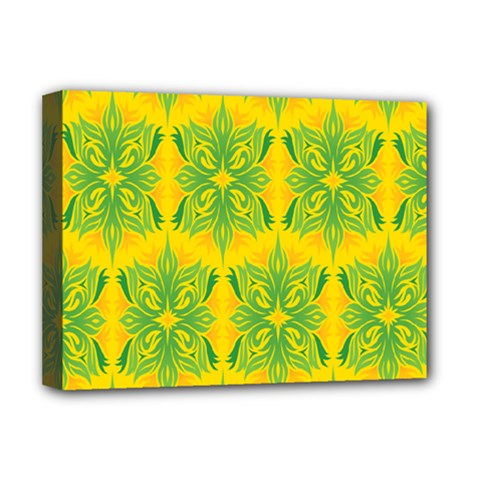 Floral Flower Star Sunflower Green Yellow Deluxe Canvas 16  X 12