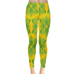 Floral Flower Star Sunflower Green Yellow Classic Winter Leggings
