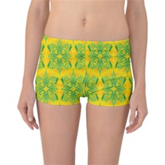 Floral Flower Star Sunflower Green Yellow Reversible Bikini Bottoms