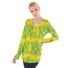 Floral Flower Star Sunflower Green Yellow Women s Tie Up Tee