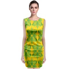 Floral Flower Star Sunflower Green Yellow Classic Sleeveless Midi Dress