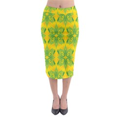 Floral Flower Star Sunflower Green Yellow Midi Pencil Skirt by Alisyart