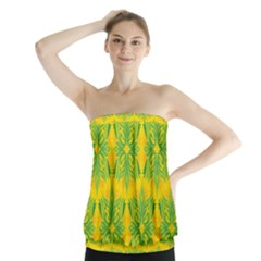 Floral Flower Star Sunflower Green Yellow Strapless Top by Alisyart