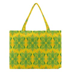 Floral Flower Star Sunflower Green Yellow Medium Tote Bag