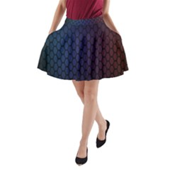 Hexagon Colorful Pattern Gradient Honeycombs A Line Pocket Skirt