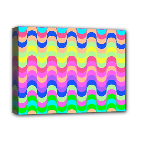 Dna Early Childhood Wave Chevron Woves Rainbow Deluxe Canvas 16  X 12