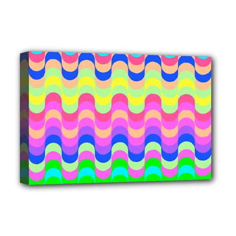 Dna Early Childhood Wave Chevron Woves Rainbow Deluxe Canvas 18  X 12   by Alisyart