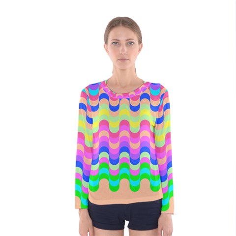 Dna Early Childhood Wave Chevron Woves Rainbow Women s Long Sleeve Tee by Alisyart