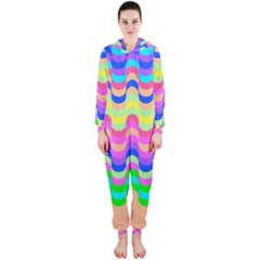 Dna Early Childhood Wave Chevron Woves Rainbow Hooded Jumpsuit (ladies)