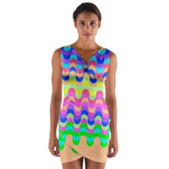 Dna Early Childhood Wave Chevron Woves Rainbow Wrap Front Bodycon Dress