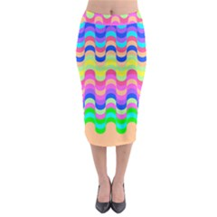 Dna Early Childhood Wave Chevron Woves Rainbow Midi Pencil Skirt