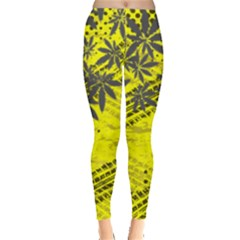 Yellow Texture Marijuana Cannabis Leggings  by PattyVilleDesigns