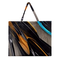 Abstract 3d Zipper Large Tote Bag