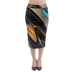 Abstract 3d Midi Pencil Skirt
