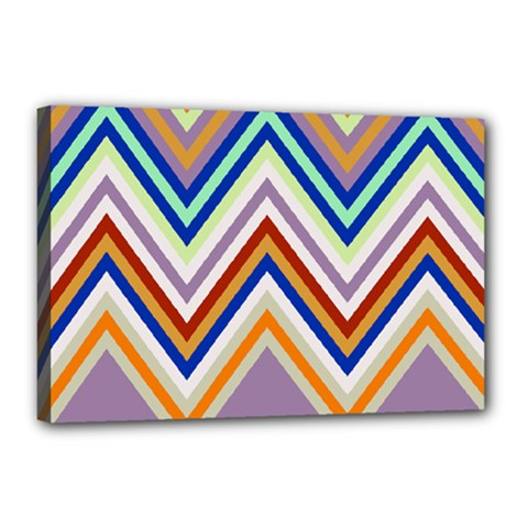 Chevron Wave Color Rainbow Triangle Waves Grey Canvas 18  X 12