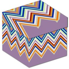 Chevron Wave Color Rainbow Triangle Waves Grey Storage Stool 12