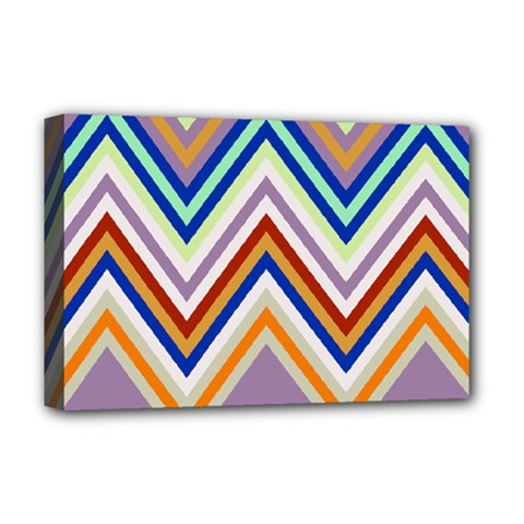 Chevron Wave Color Rainbow Triangle Waves Grey Deluxe Canvas 18  X 12