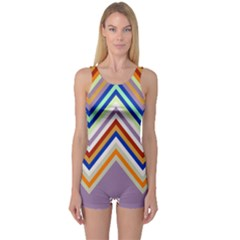 Chevron Wave Color Rainbow Triangle Waves Grey One Piece Boyleg Swimsuit