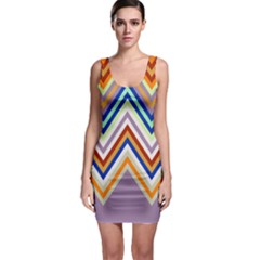Chevron Wave Color Rainbow Triangle Waves Grey Sleeveless Bodycon Dress