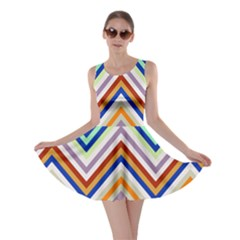 Chevron Wave Color Rainbow Triangle Waves Grey Skater Dress