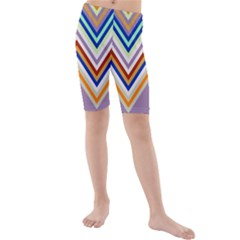 Chevron Wave Color Rainbow Triangle Waves Grey Kids  Mid Length Swim Shorts