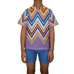 Chevron Wave Color Rainbow Triangle Waves Grey Kids  Short Sleeve Swimwear