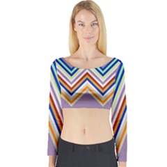 Chevron Wave Color Rainbow Triangle Waves Grey Long Sleeve Crop Top