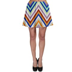 Chevron Wave Color Rainbow Triangle Waves Grey Skater Skirt