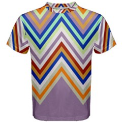 Chevron Wave Color Rainbow Triangle Waves Grey Men s Cotton Tee
