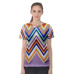 Chevron Wave Color Rainbow Triangle Waves Grey Women s Sport Mesh Tee