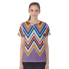 Chevron Wave Color Rainbow Triangle Waves Grey Women s Cotton Tee